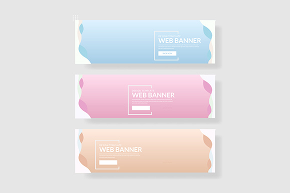 3 Set Pastel Color Banner Wave Shape Graphic Graphic Templates By indostudio
