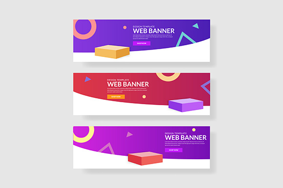 3 Set UI Banner Memphis Shapes Composition with Gradients Gráfico Plantillas Gráficas Por indostudio