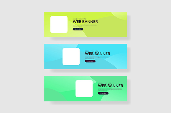 3 Set UI Banner with Square Shape Wave Geometric