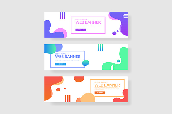 3 Set UI Colorful Banner Fluid Shape with Gradient- Graphic Graphic Templates By indostudio