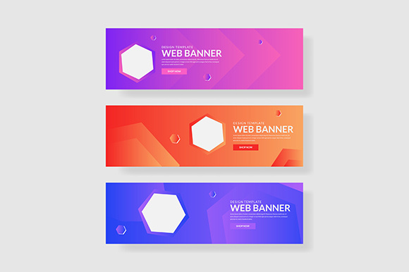 3 Set UI Pastel Color Banner Hexagon Shape Composition Graphic Graphic Templates By indostudio