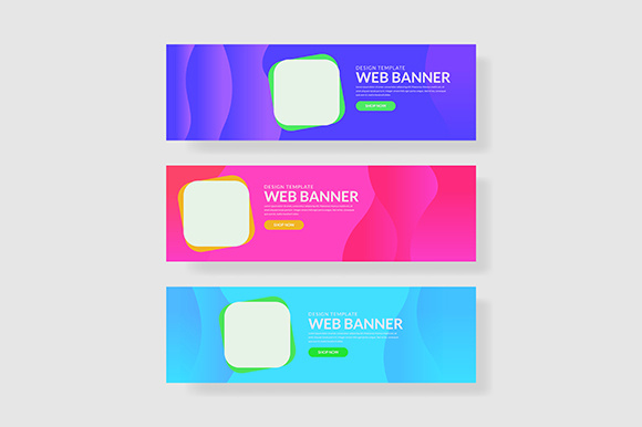 3 Set UI Pastel Color Banner Rounded Square  Shape Composition Graphic Graphic Templates By indostudio
