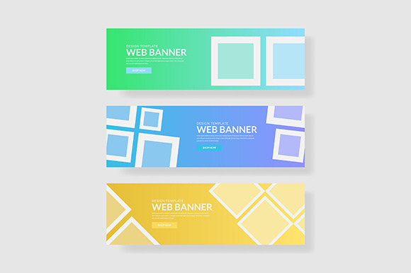3 Set UI Pastel Color Banner Square Shape Composition Graphic Graphic Templates By indostudio