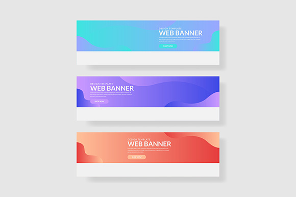 3 Set UI Pastel Color Banner Wave Shape Composition Graphic Graphic Templates By indostudio - Image 1