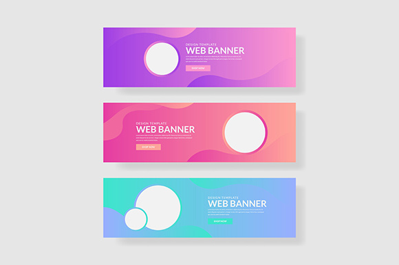 3 Set UI Pastel Color Banner with Circle Shape & Fluid Composite Graphic Graphic Templates By indostudio