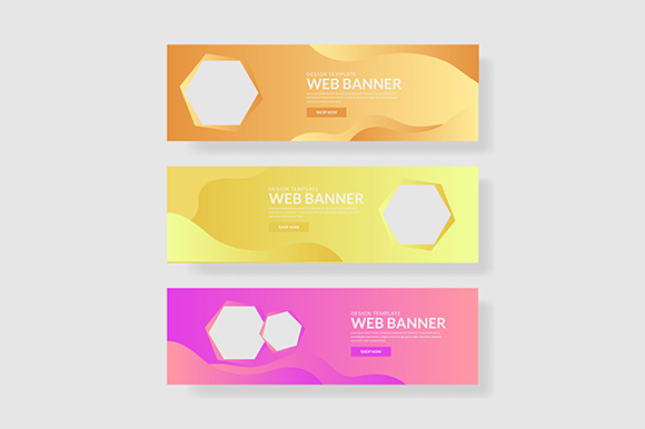 3 Set UI Pastel Color Banner with Hexagon Shape & Fluid Composite Graphic Graphic Templates By indostudio