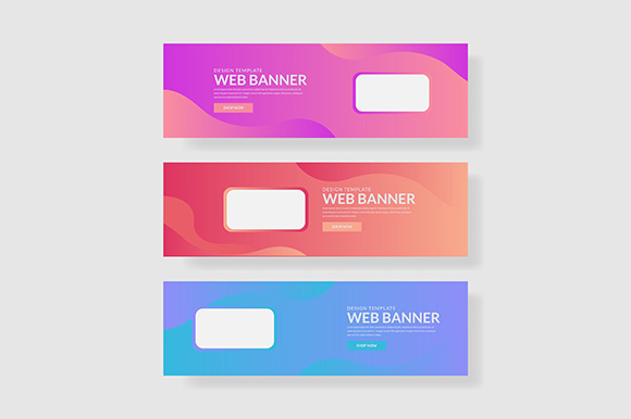 3 Set UI Pastel Color Banner with Rectangle Shape and Fluid Composite Gráfico Plantillas Gráficas Por indostudio
