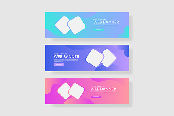 3 Set UI Pastel Color Banner with Square Shape & Fluid Composite Graphic Graphic Templates By indostudio - Image 1