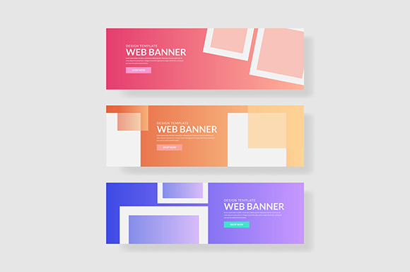 3 Set UI Pastel Color Banner with Square Shape Graphic Graphic Templates By indostudio - Image 1