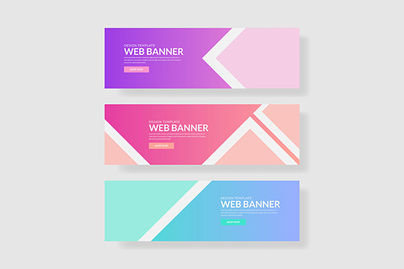 3 Set UI Pastel Color Banner with Square & Triangle Shape Graphic Graphic Templates By indostudio