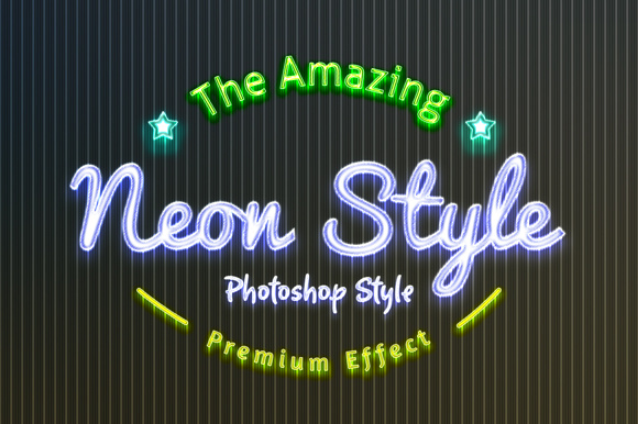 36 Neon Style Graphic Layer Styles By yantodesign