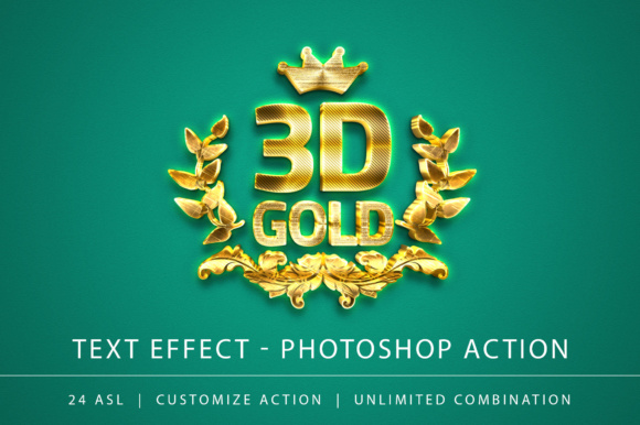 Print on Demand: 3D Gold Text Effect Photoshop Action Graphic Actions & Presets By yantodesign
