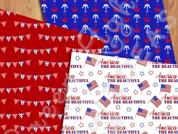 4th of July Digital Papers, American Patriotic Backgrounds
