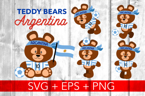 Print on Demand: 5 Teddy Bears Argentina Graphic Illustrations By davidrockdesign