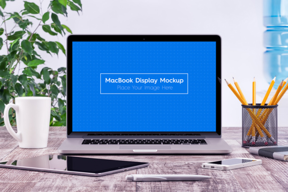 5 Workplace MacBook Display Mockups Graphic Product Mockups By Textures - Image 1