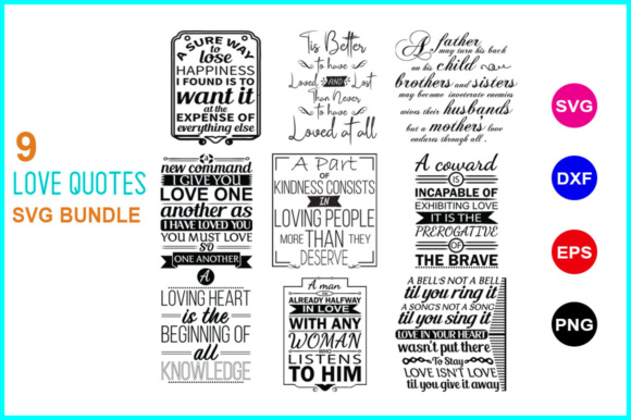Print on Demand: 9 Love Quotes SVG Bundle. 1.1. Graphic Crafts By Graphic School