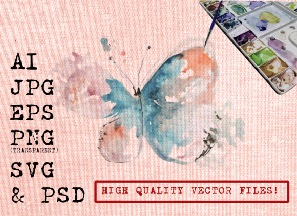 Abstract Butterfly Watercolor Graphic Illustrations By Ambar Art
