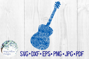 Download Free Acoustic Guitar Floral Zentangle Mandala Instrument Music Rock for Cricut Explore, Silhouette and other cutting machines.