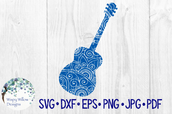 Acoustic Guitar Floral Zentangle Mandala Instrument, Music, Rock Graphic Crafts By WispyWillowDesigns