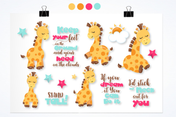 Print on Demand: Adorable Giraffes Graphics and Illustrations Graphic Illustrations By Prettygrafik - Image 1
