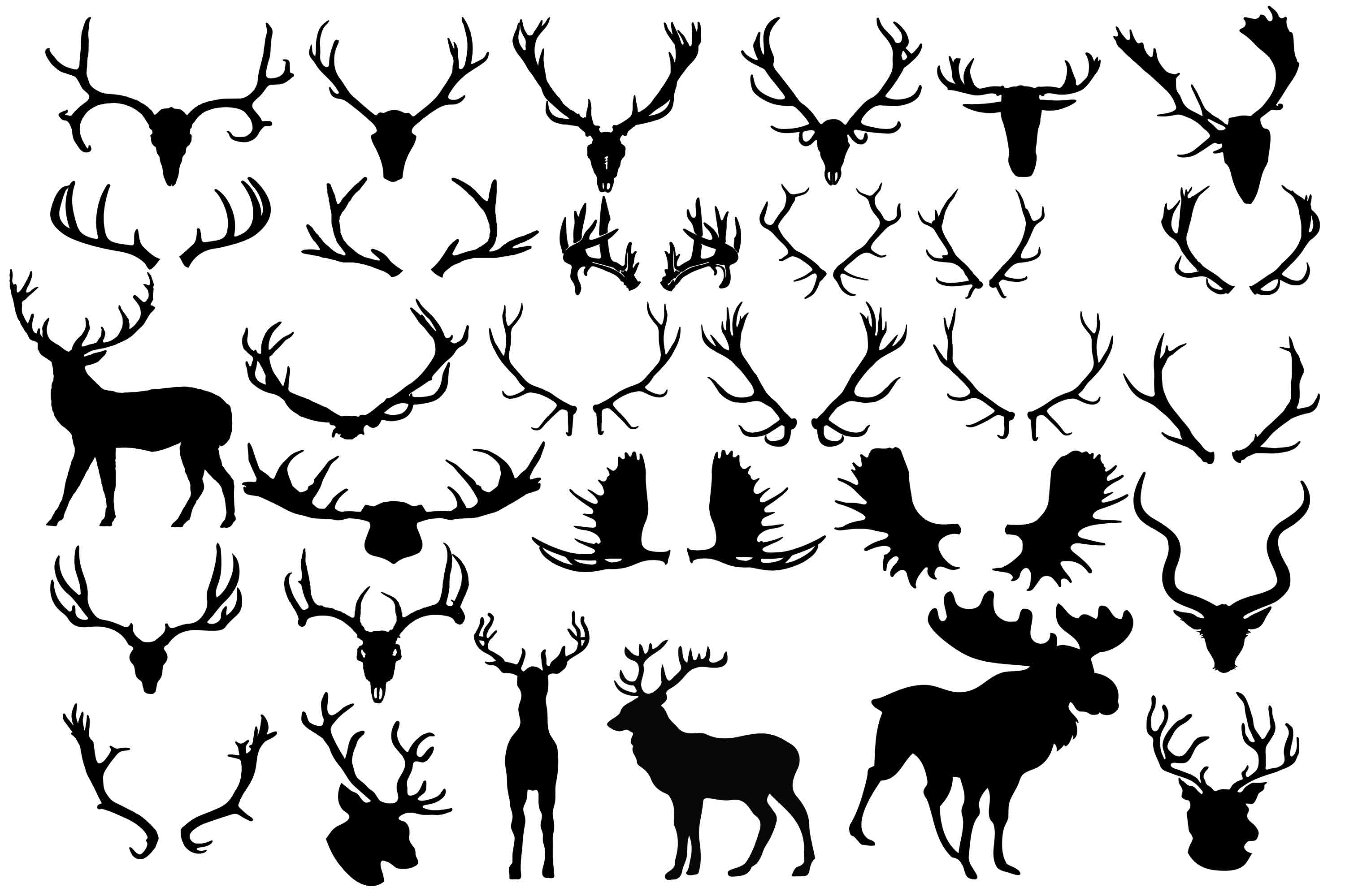 Download Free Antler Silhouette Graphic By Retrowalldecor Creative Fabrica for Cricut Explore, Silhouette and other cutting machines.