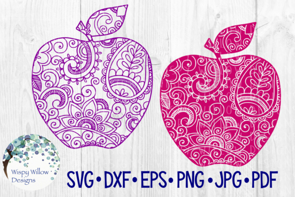 Apple Bundle, Zentangle, Teacher Gift, School, Fruit, Cut File Graphic Crafts By WispyWillowDesigns