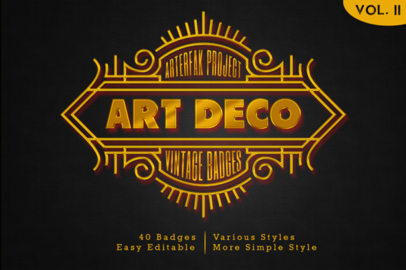 Download Free Art Deco Vintage Badges Vol Ii Graphic By Arterfak Project Creative Fabrica for Cricut Explore, Silhouette and other cutting machines.