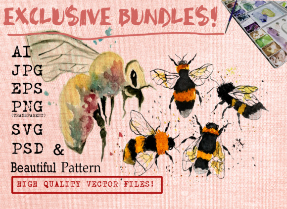 BEE WATERCOLORS SET Graphic Illustrations By Ambar Art