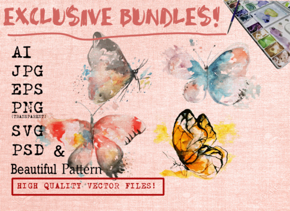BUTTERFLY WATERCOLORS SET Graphic Illustrations By Ambar Art