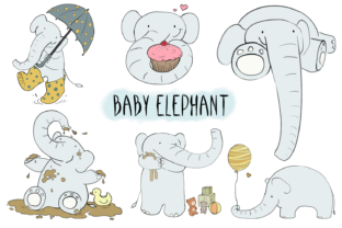 Baby Elephant CLIP ART Illustrations Graphic By Jen Digital Art