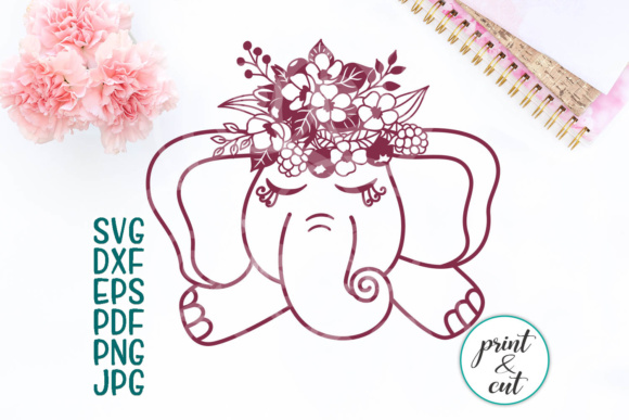 Download Free Baby Elephant With Flowers Graphic By Cornelia Creative Fabrica for Cricut Explore, Silhouette and other cutting machines.
