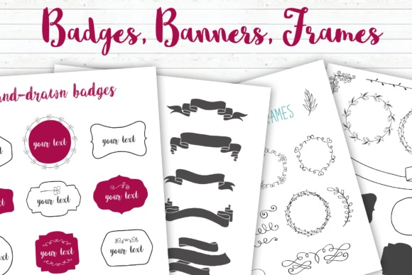 Badges, Banners, Frames, Flourishes Collection Graphic By switzershop