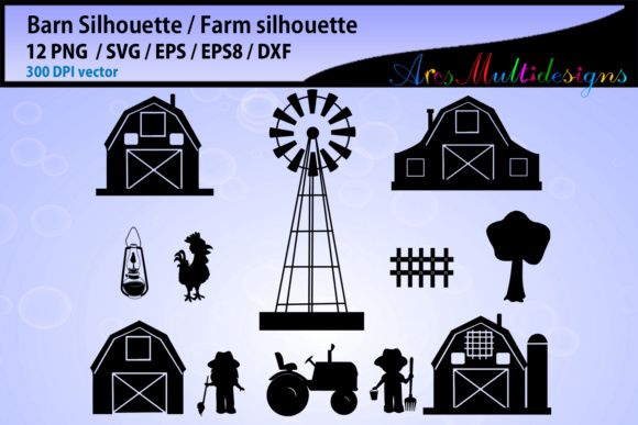 Print on Demand: Barn Svg Silhouette Graphic Illustrations By Arcs Multidesigns - Image 2