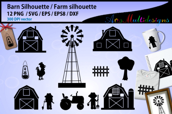 Print on Demand: Barn Svg Silhouette Gráfico Ilustraciones Por Arcs Multidesigns