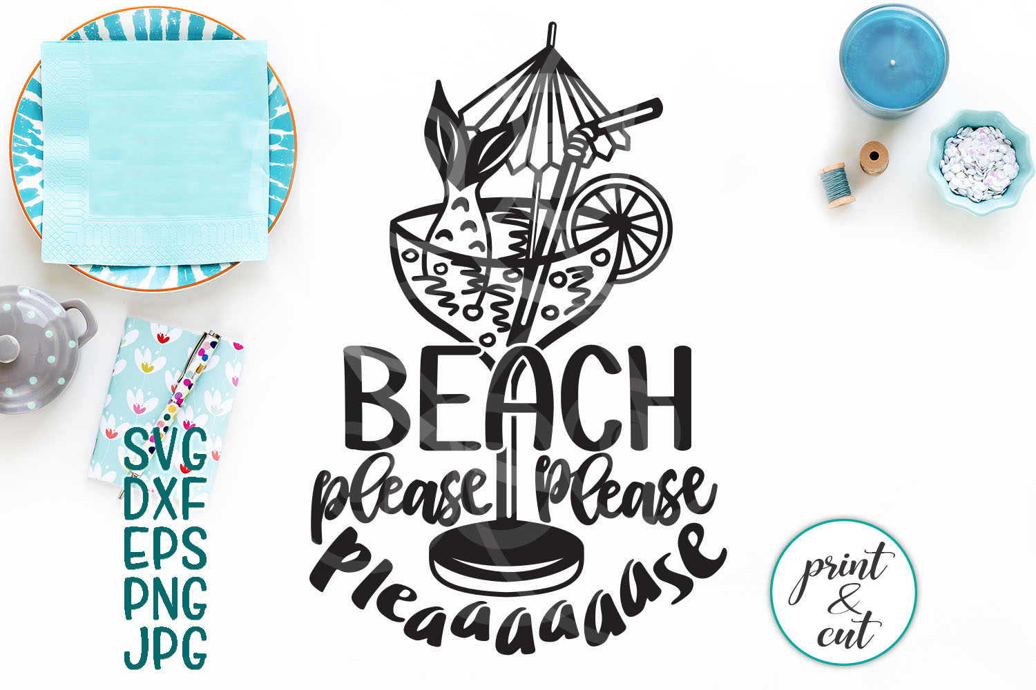 Download Free Beach Please Funny Beach Cutting File Girls Shirt Design for Cricut Explore, Silhouette and other cutting machines.