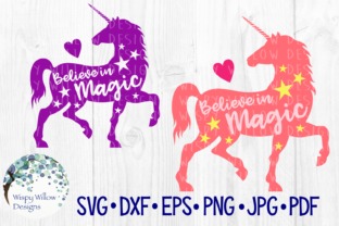 Download Free Believe In Magic Unicorn Girl Cut File Graphic By for Cricut Explore, Silhouette and other cutting machines.