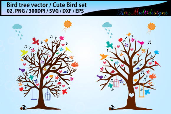 Print on Demand: Bird Tree Silhouette Vector SVG Graphic Illustrations By Arcs Multidesigns - Image 1