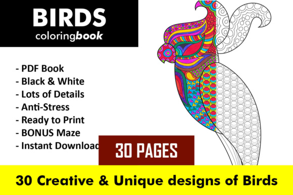 Birds Coloring Book - 30 Unique Birds Designs Graphic Coloring Pages & Books Adults By ColoringBooks101 - Image 1