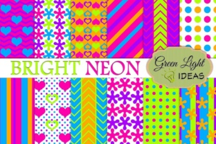 Birght Neon Digital Papers, Neon Party Backgrounds Graphic By GreenLightIdeas