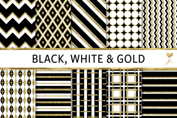 Print on Demand: Black, White and Gold Graphic Textures By JulieCampbellDesigns