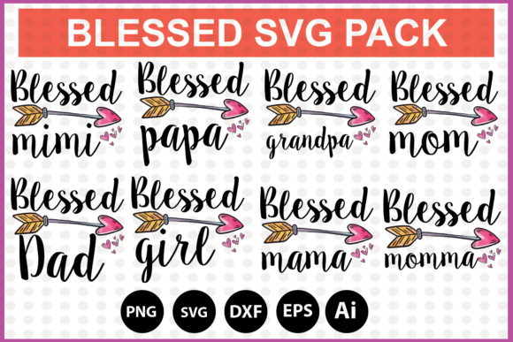 Print on Demand: Blessed SVG Bundle Pack Graphic Print Templates By DesignSmile