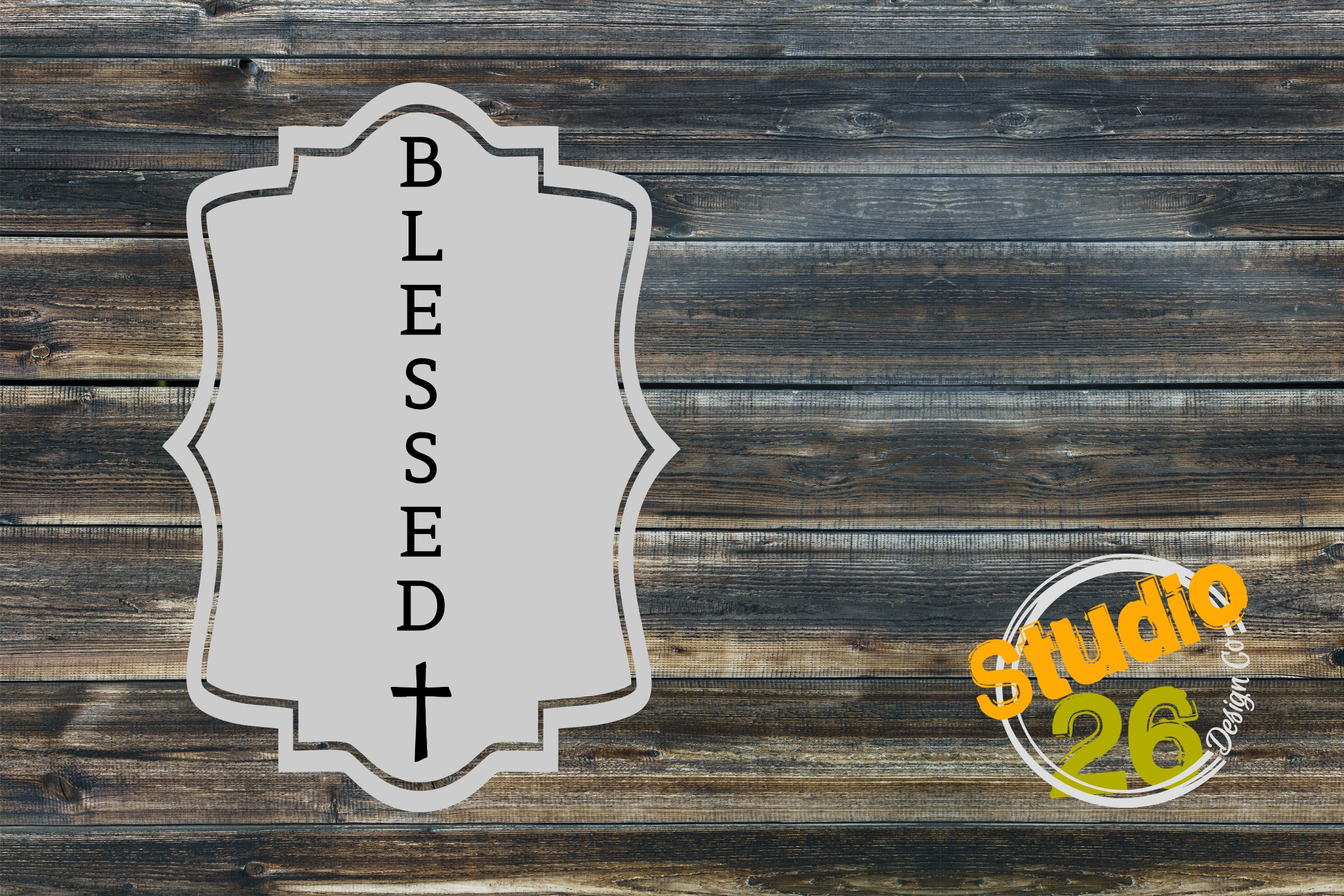 Download Free Blessed With Cross 6 Ft Vertical Sign Graphic By Studio 26 for Cricut Explore, Silhouette and other cutting machines.