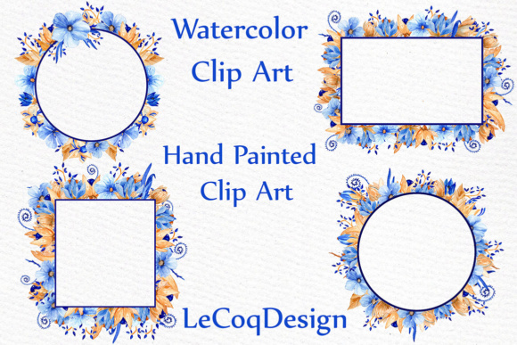 Download Free Blue Gold Floral Frames Clipart Watercolor Clipart Wedding for Cricut Explore, Silhouette and other cutting machines.