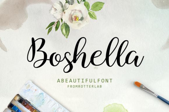 Print on Demand: Boshella Script Script & Handwritten Font By rotterlabstudio
