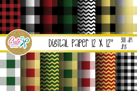 Buffalo Plaid Pattern, Gold Chevron Digital Paper Graphic Textures By Cute files