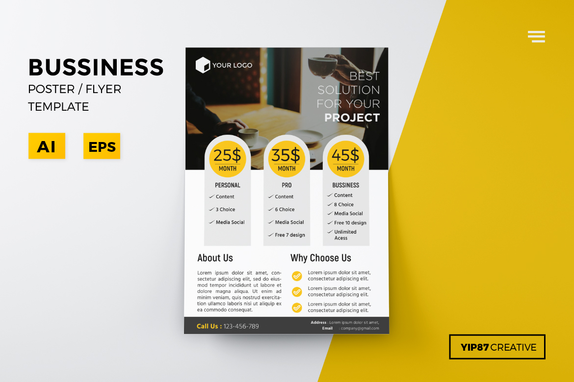 Download Free Business Pricing Flyer Graphic By Yip87 Creative Fabrica for Cricut Explore, Silhouette and other cutting machines.