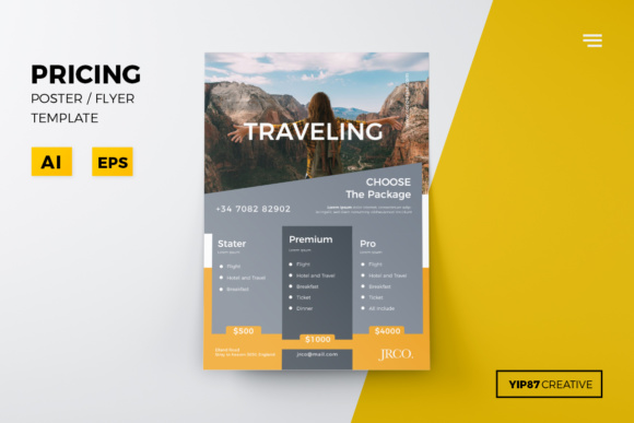 Business Pricing Flyer Graphic Print Templates By yip87