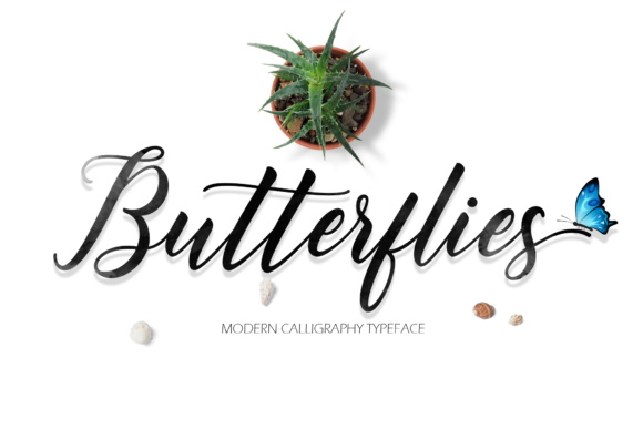 Print on Demand: Butterflies Script Script & Handwritten Font By fargunstudio