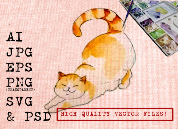 Download Free Chuby Cat Watercolors Graphic By Ambar Art Creative Fabrica for Cricut Explore, Silhouette and other cutting machines.