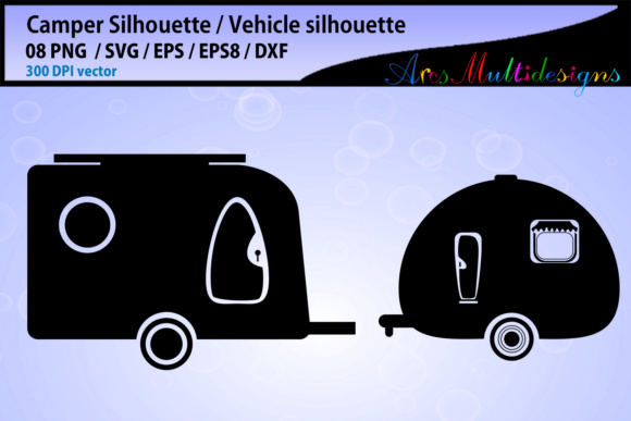 Download Free Camper Car Silhouette Graphic By Arcs Multidesigns Creative for Cricut Explore, Silhouette and other cutting machines.